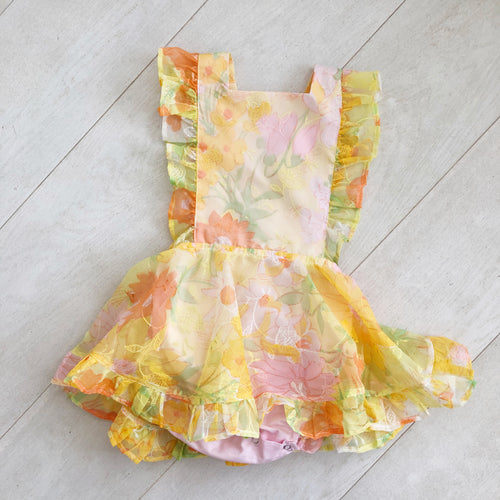 vintage flocked yellow floral pinafore 3t