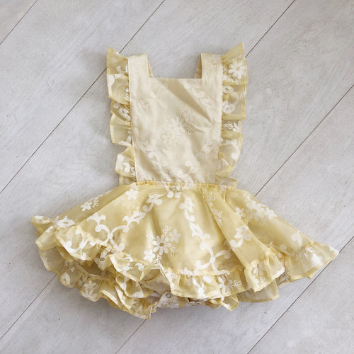 vintage flocked pale yellow pinafore 3t