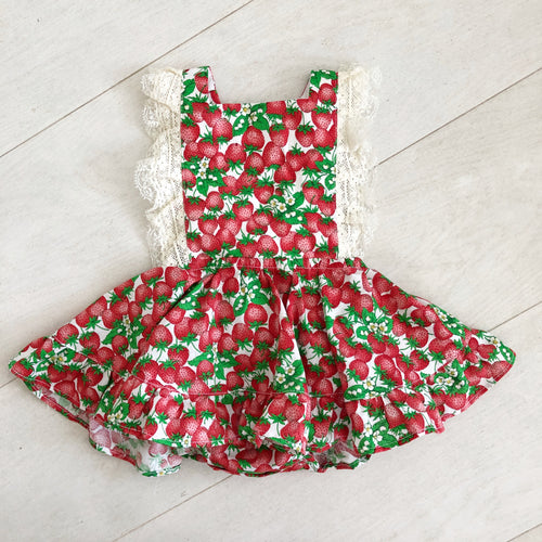 vintage strawberry lace pinafore 6/12
