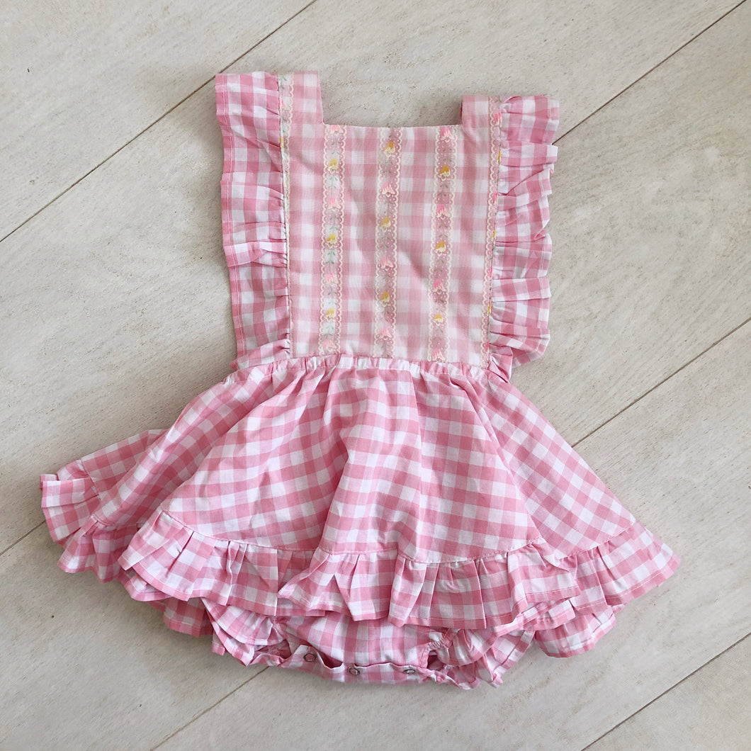 vintage pink gingham flocked bib pinafore 2t