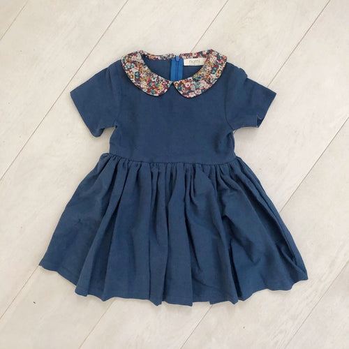 moonlight linen dress with peter pan collar