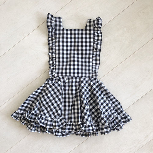 black + white gingham pinafore