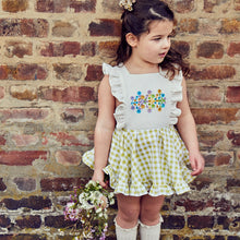 embroidered gingham pinafore
