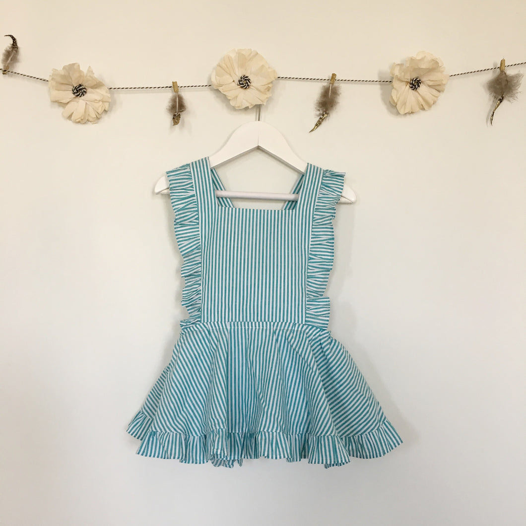 teal stripe pinafore
