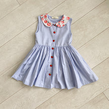 chambray apple sleeveless peter pan dress