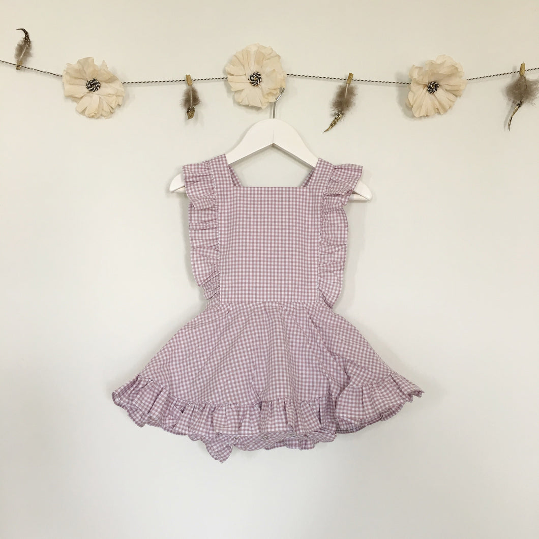 lavender gingham pinafore