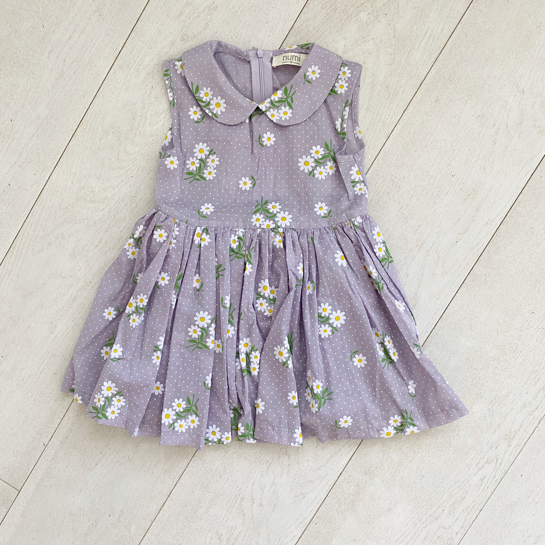 lilac daisy sleeveless peter pan dress