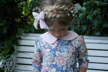 blue floral dress with gingham  peter pan collar