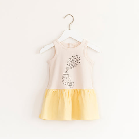 """Twirl"" Dress - Ecru & Yellow"