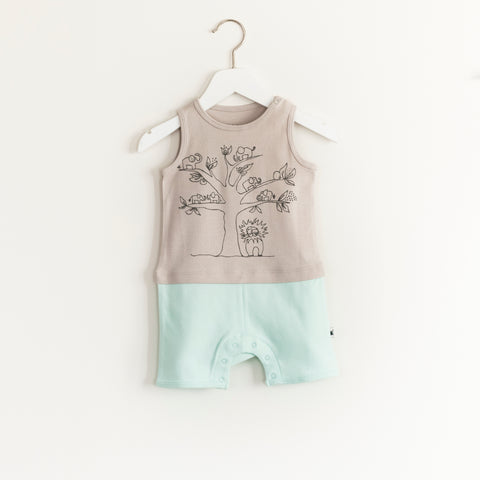 """Surprise"" Romper - Grey & Mint"