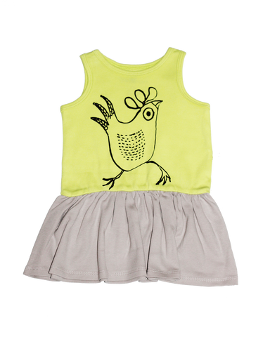 Sleeveless Dress Lime-Grey
