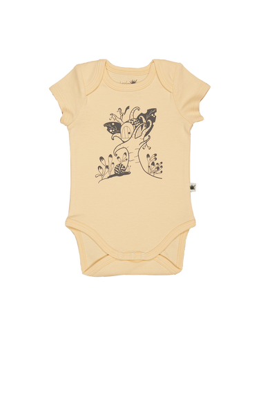 """Envelope"" Short Sleeve Onesie - Almond Yellow"