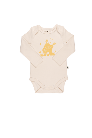 """Envelope"" Long Sleeve Onesie - Offwhite - Yellow"