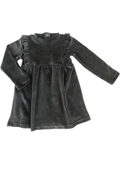 """Frills"" Velvet Dress - Anthracite"