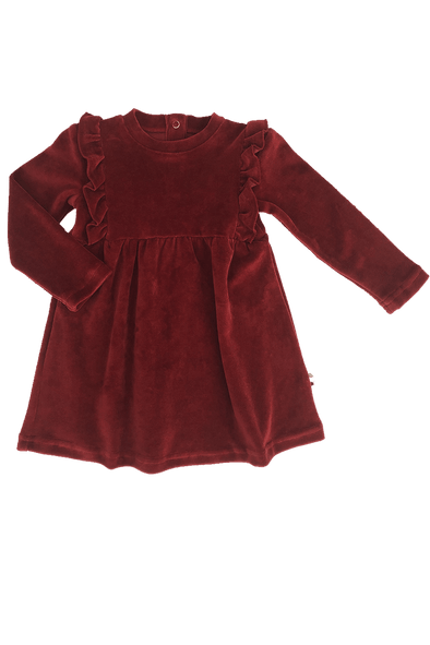 """Frills"" Velvet Dress - Bordeaux"