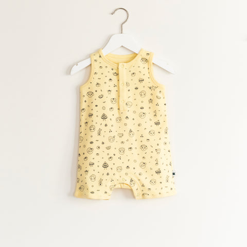 """Joke"" Romper - Yellow (Party Print)"