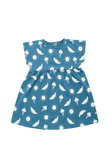 """Marshmallow"" Dress - Ecru & Deep Blue"