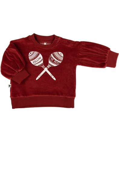 """Melody"" Kadife Balon Kollu Sweatshirt - Bordo"