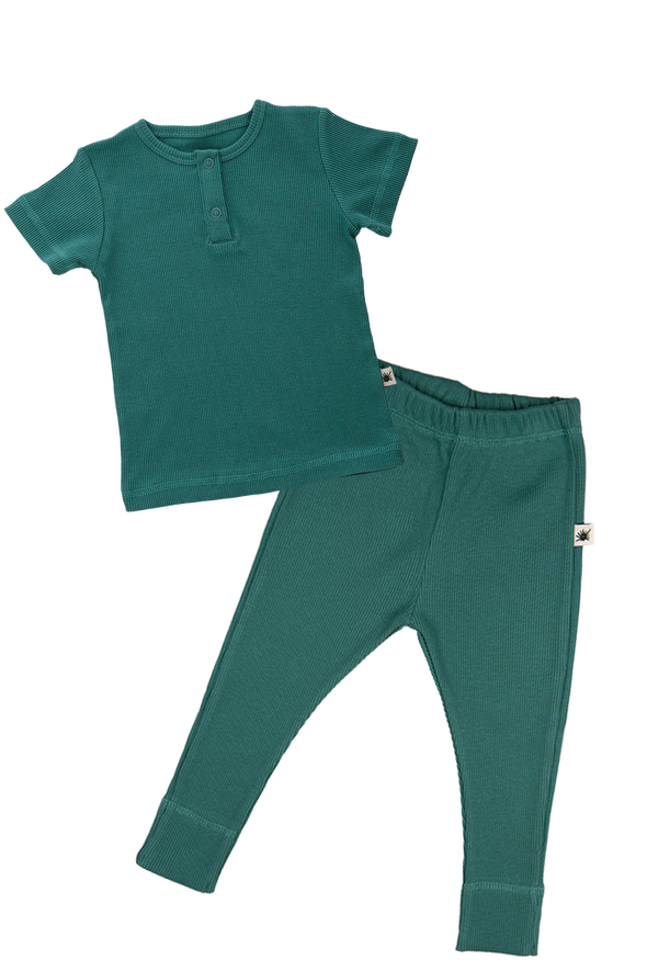 """Simples"" Short Sleeve Set - Emerald"