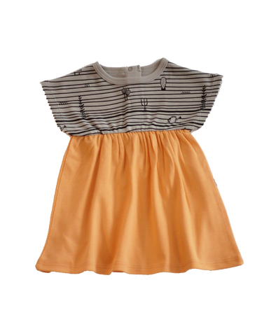Short Sleeve Dress Grey-Peach