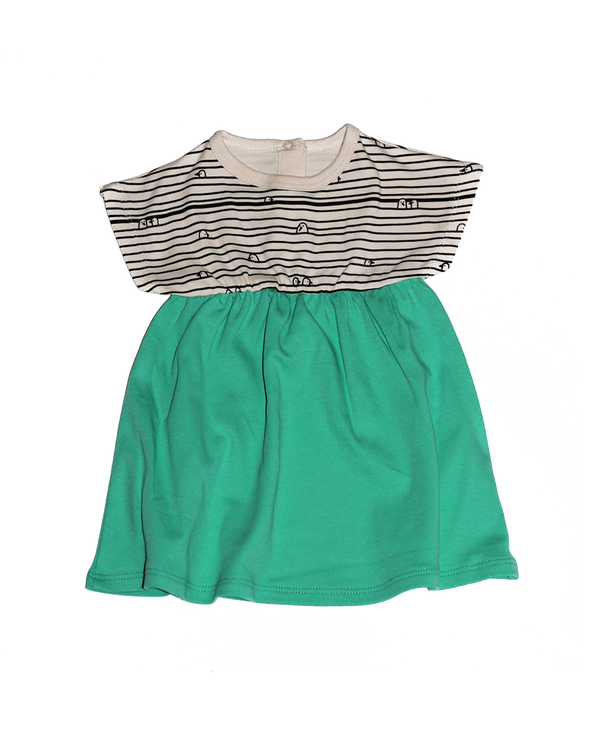 Short Sleeve Dress  Ecru-Mint