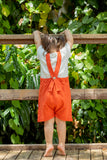 """Yucca"" Short Dungarees - Fig Red"