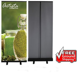 Economy Retractable Banner Stand with Vinyl Graphics ( Black Frame )