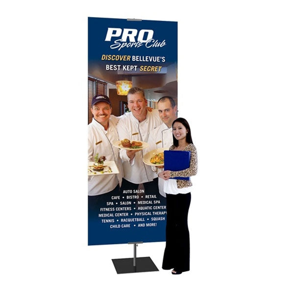 "Classic Black Banner Stand 24""W x 36-96"" with Square Base"