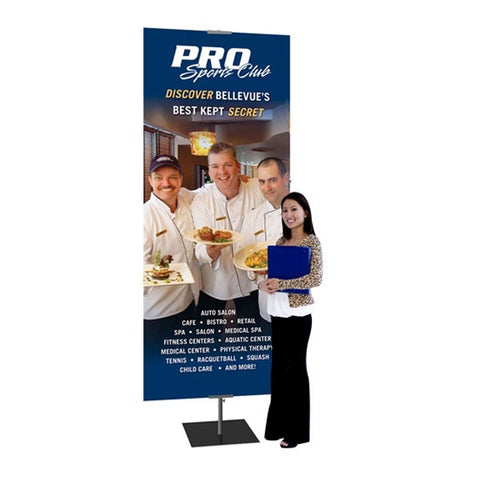 "Classic Black Banner Stand 36""W x 42-96""H with Square Base"