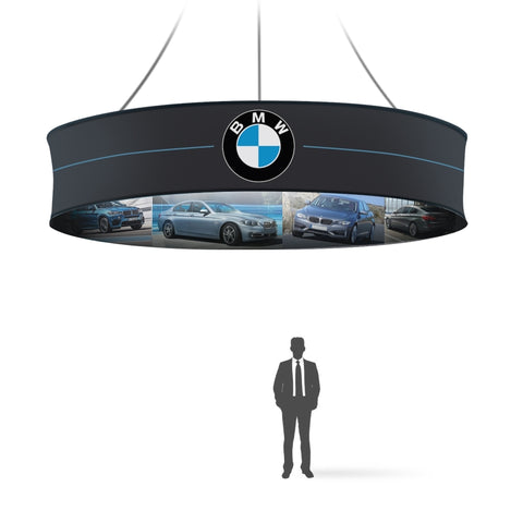 Graphic 8ft Round hanging Banner 32in, double-sided