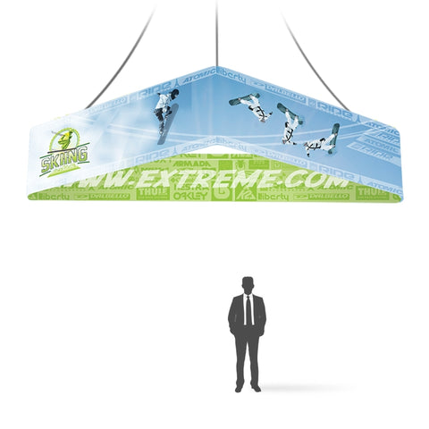 8ft Triangle hanging Banner 32in, double-sided