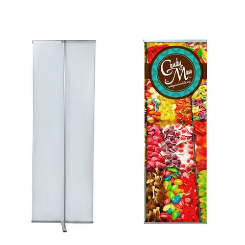 "L - Banner Stand Size 24"" X 72"" with Vinyl Graphic"