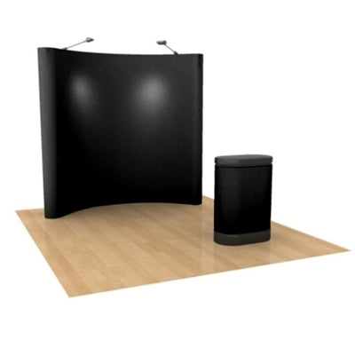 Pop-Up 8ft Display with Lights, Case & Counter, Fabric Package