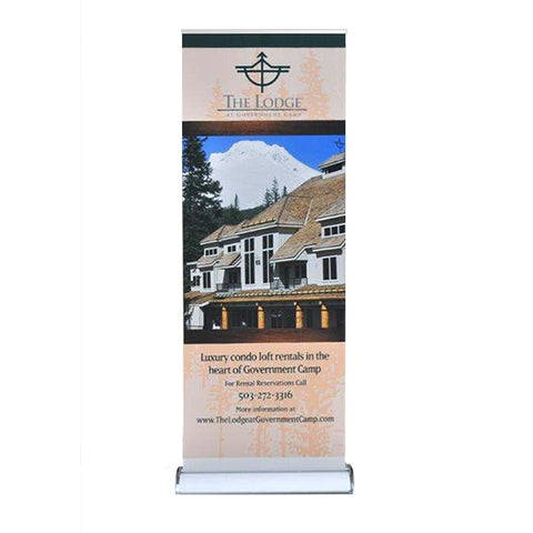 "Raindrop Retractable Banner Stand 33.5"" X 96"" with Vinyl Graphic"