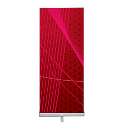 "Silver Premium Retractable Banner Stand 34"" with Fabric Graphic"