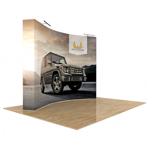 Star Fabric Popup Display 10Ft Curved with End Caps