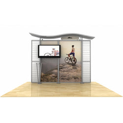 10ft Timberline Monitor Display with Wave Top and Slat Wall Wings