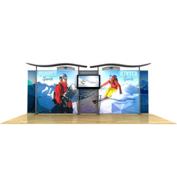 20ft Timberline Light Box Display w/ Wave Top & Straight Fabric Sides