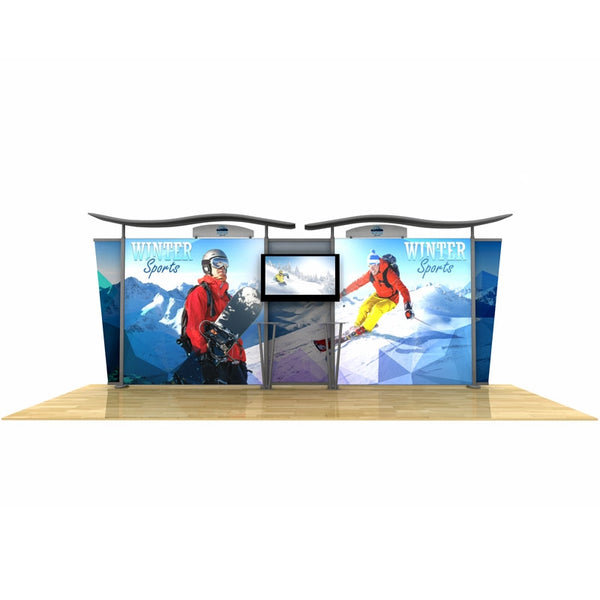 20ft Timberline Light Box Display w/ Wave Top & Tapered Fabric Sides