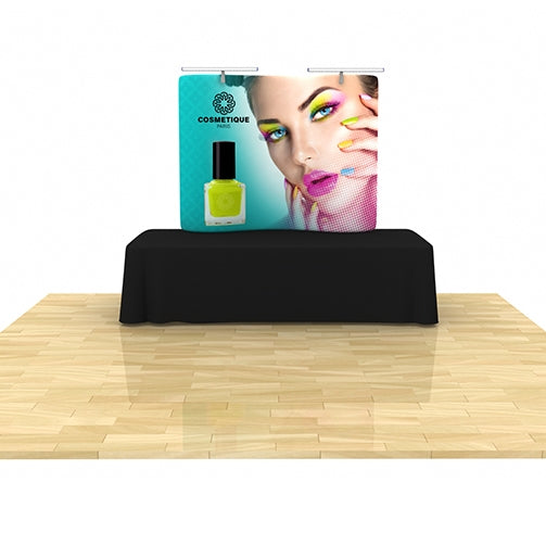 Wave Tube Display 6' Curved Table Top with Graphic