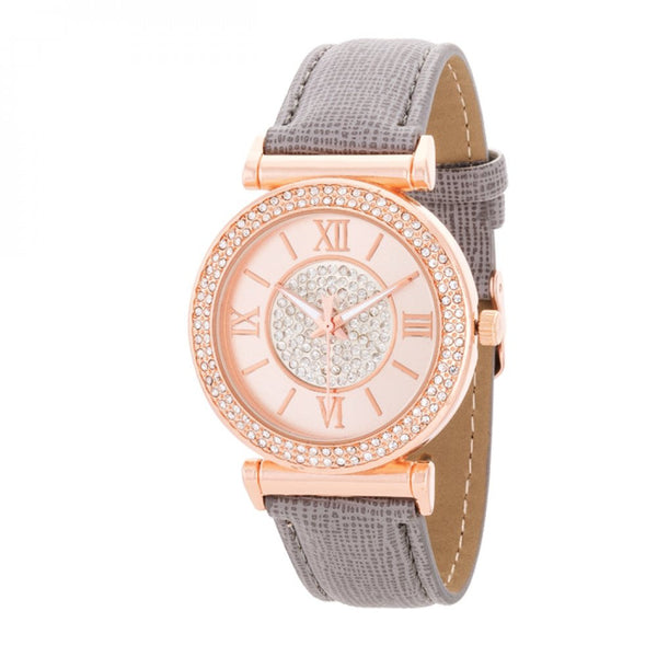 Crystal Rose Gold Watch With Leather Strap