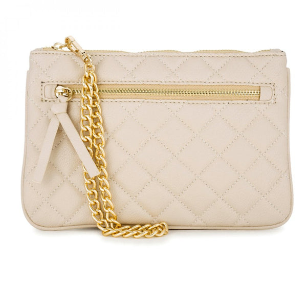 Alexis Beige Quilted Faux Leather Clutch With Gold Chain Wristlet