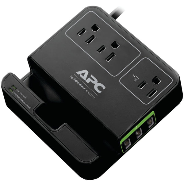 Apc 3-outlet Surgearrest Surge Protector With 3 Usb Ports (black)