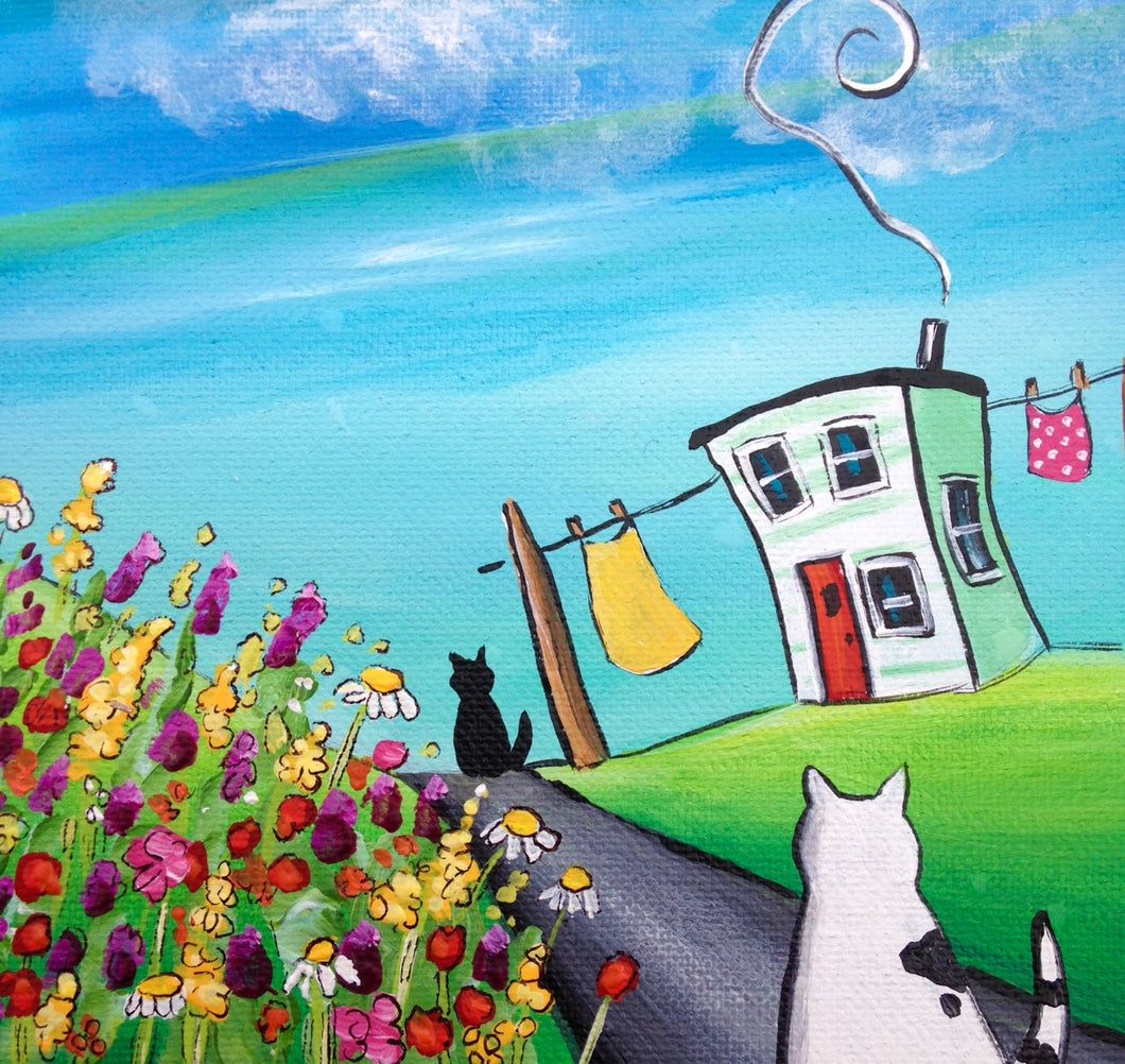 (SOLD) Flora Purred When She Saw the Little Black Come Strolling Down the Road to Meet Her By Nan's Wildflowers