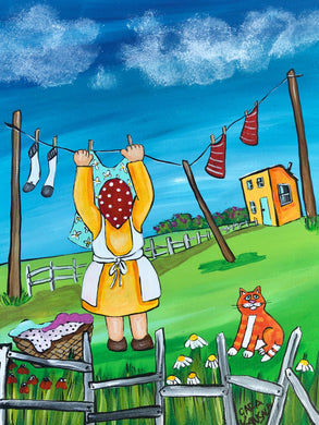 (SOLD) It was a fine day for laundry, so Nan hung the line and the Marmalade Cat came for a visit and they made sure to keep at least two arm lengths apart.