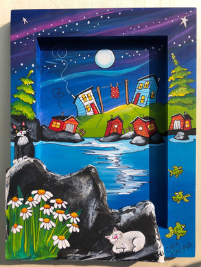 (SOLD) On a Quiet Night, While the Fish Swan By, The Cat on the Hill Sang Lullaby's, The Chimney Puffed Smoke While the Stars Twinkled High and the Red Quilt Stayed Out = Nan Hoped It Would Dry
