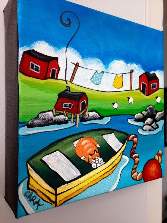(SOLD) The Marmalade Cat Always Slept in Pop's Boat When He Came Home for His Dinner
