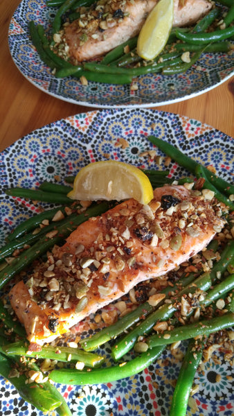 "Summer Recipe: Grilled Salmon with Green Beans and Coco, Bee & Nut Grain Free ""Bread Crumbs"""