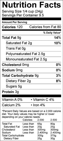 Nutrition information for the Blueberry Lemon Granola