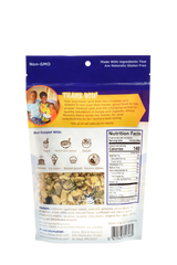The back of this bag for our blueberry lemon flavor is filled with information like: how to incorporate our granola into different snacks and meals, an explanation of where 10% of our net sales are going (to a single-mother family in Uganda), nutritional information (low carb/higher protein/lower sugar), ingredients, and a clear window so you can see what you're getting!